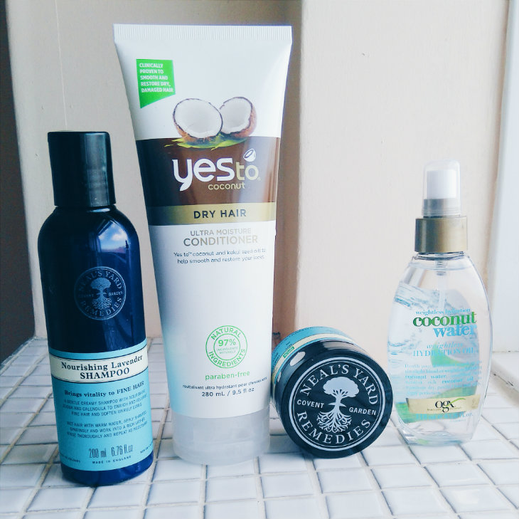Neal's Yard Remedies Nourishing Lavender Shampoo; Yes To Coconut Ultra Moisture Conditioner; Neal's Yard Remedies Rosemary & Cedarwood Hair Treatment; OGX Coconut Water Weightless Oil Mist