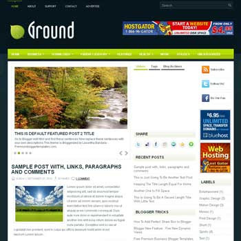 Ground blog template. template image slider blog. magazine blogger template style. wordpress theme to blogger
