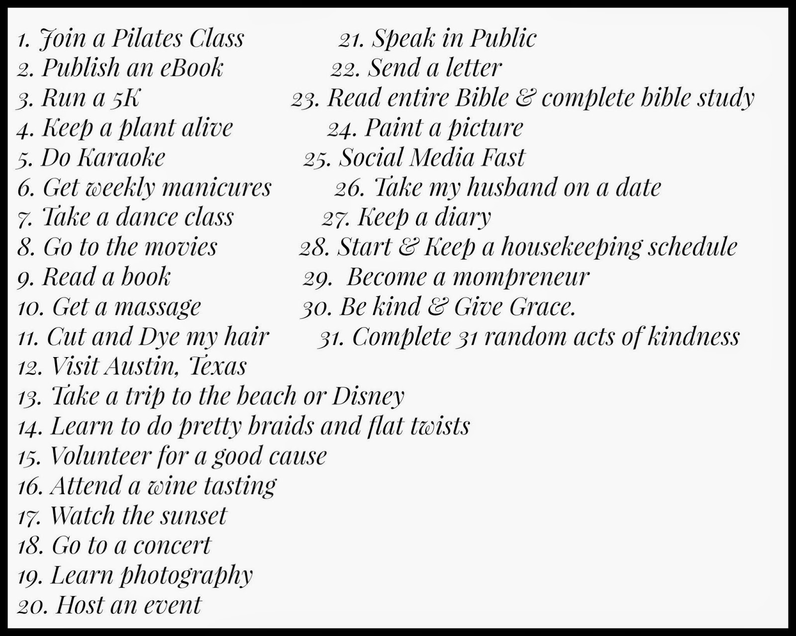 List of 31 things to do Before 32