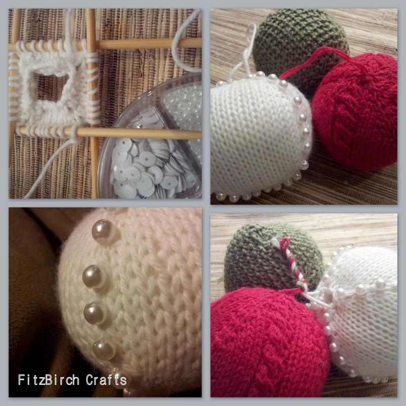 Fitzbirch Crafts Simple Knitted Christmas Baubles
