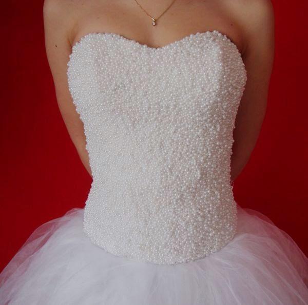 Suknie ślubne Vestido Suknia ślubna Z Gorsetem W Perełkach