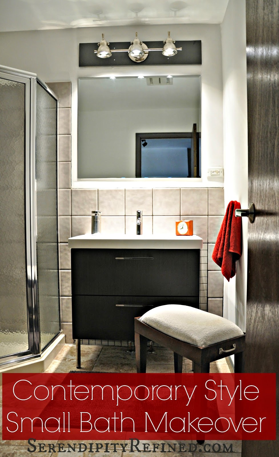 Modern Apartment Bathroom serendipity refined blog: contemporary apartment small bath makeover