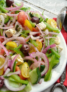 Greek Salad with Marinated Onions ~ The ever popular Greek Salad gets a small makeover and it is scrumptious ! Definitely a salad recipe you need to add to your collection, especially when you have a BBQ !
