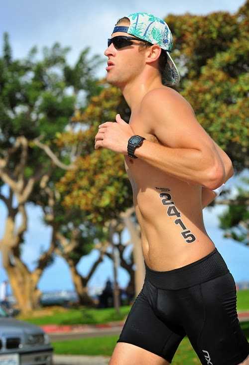Shirtless Male Runner