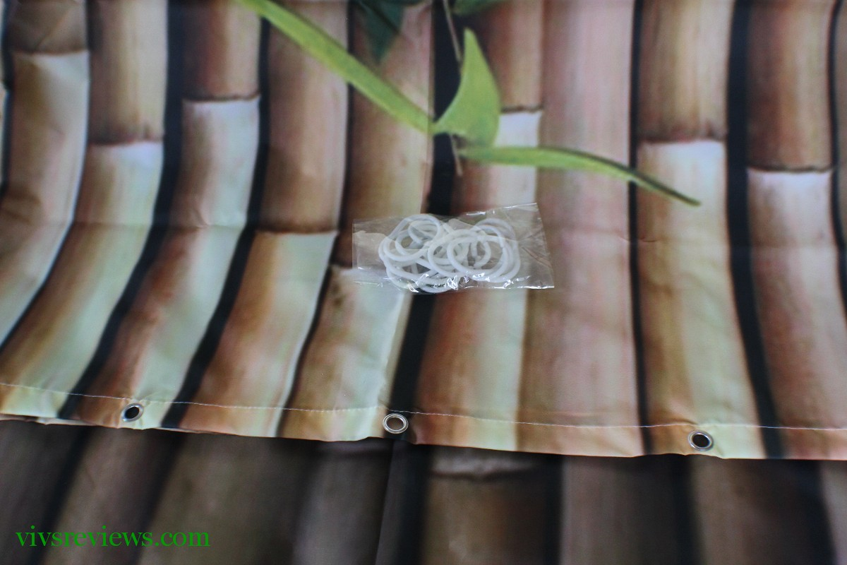 Bamboo shower curtain - This Is Made Of 100 Polyester Material And Machine Washable The Quality Of The Material Is Good Fabric Seems Quite Sturdy And I Like That It Goes So