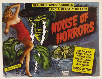 classic posters, free download, free printable, graphic design, horror movie, movies, printables, retro prints, theater, vintage, vintage posters, vintage printables, House of Horrors, Beautiful Artists Models and a Beastly Killer! - Vintage Horror Movie Printable Poster