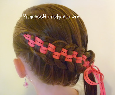 5 strand french braid with ribbon