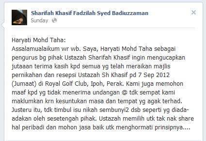 ustazah sharifah khasif fadzilah dan pasangannya dato seri mohamad