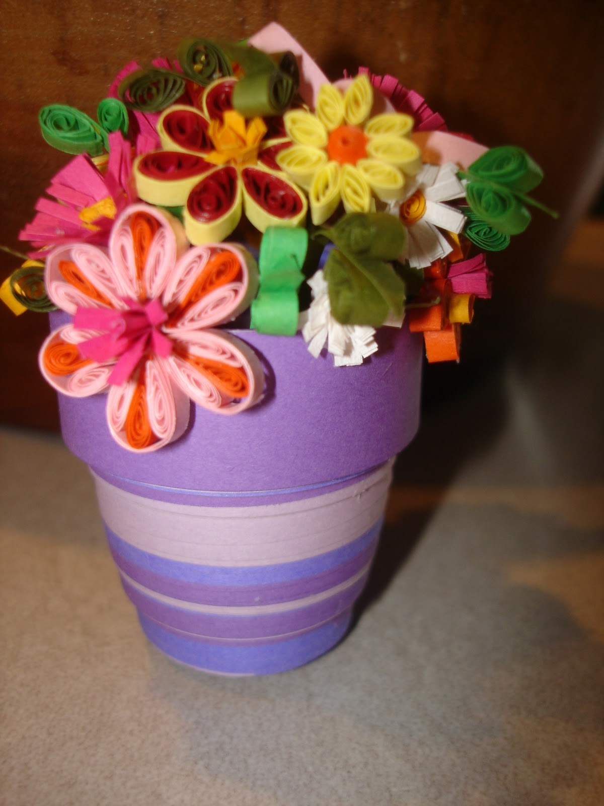 GIANT 3D Quilled Flower Pot