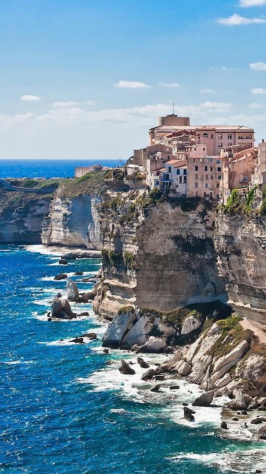 Corsica Cliff Side Rocks  Galaxy Note HD Wallpaper