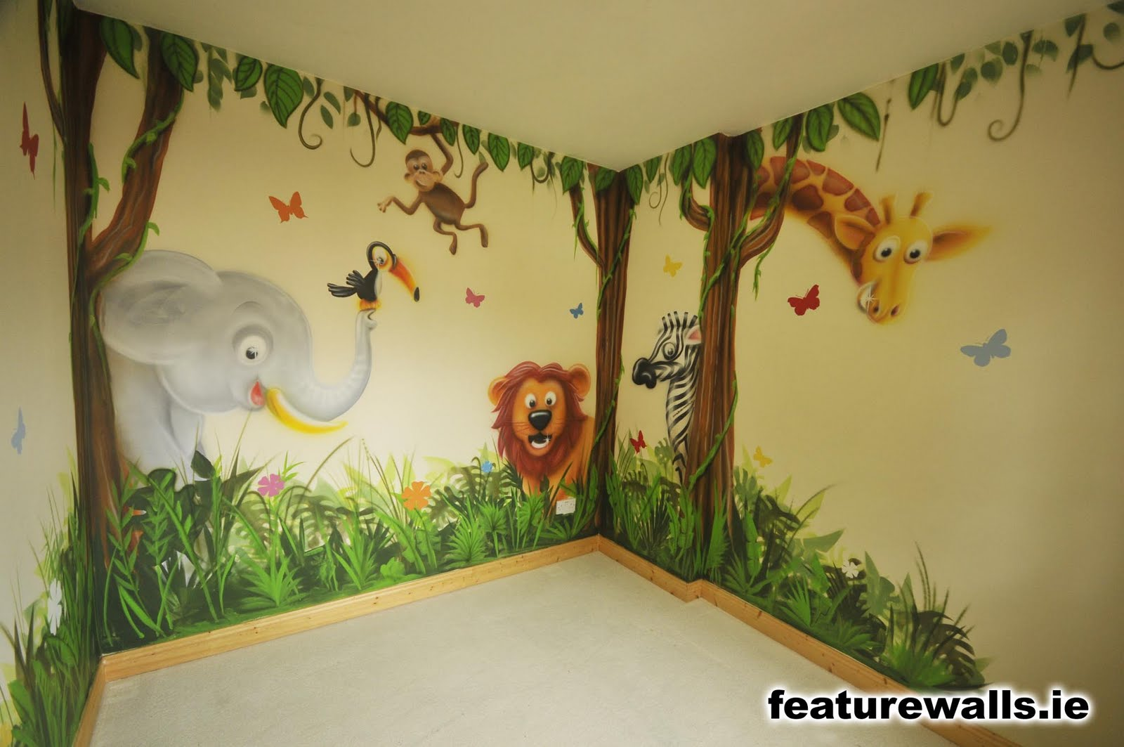 Room murals 2017 grasscloth wallpaper for Baby jungle safari wall mural