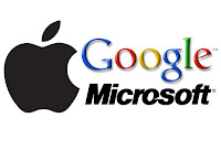 google ,microsoft and black apple logo