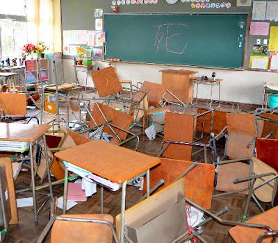 ภาพทำลายข้าวของในชั้นเรียน