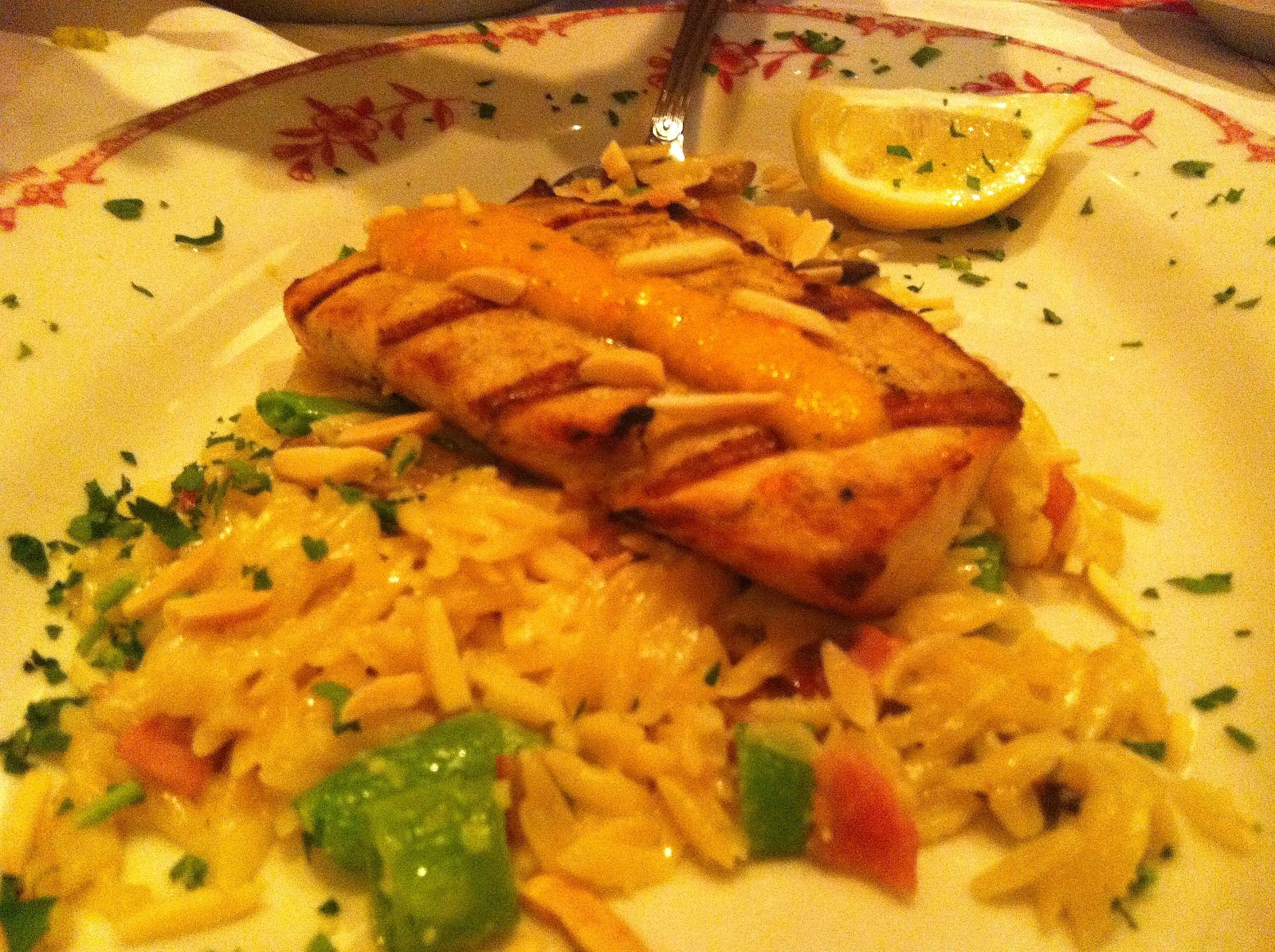Grilled Carbonara Orzotto - Grilled Mahi Mahi, topped with roasted ...