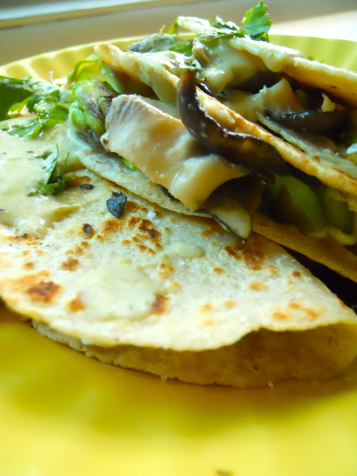 ... Quesadillas with Mushrooms, Asparagus, Goat Cheese, and Poblano Cream