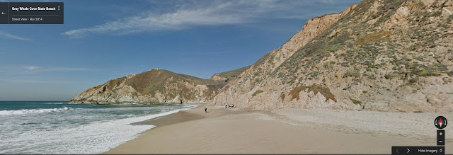 A gorgeous shot of a California State Park near a beach and mountains.