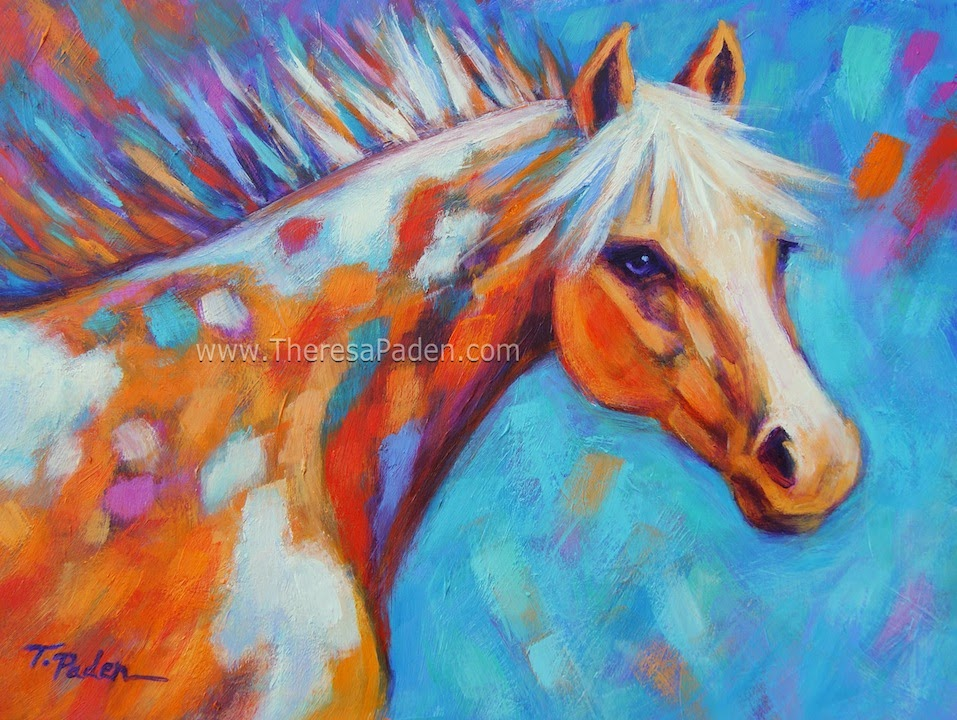 Horse Painting In Bright Colors By Theresa Paden