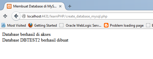 how to create database in mysql using php code