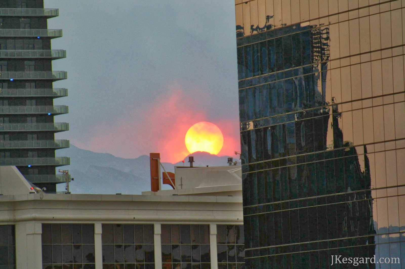 Closer shot of sun behind smoke Las Vegas 2013
