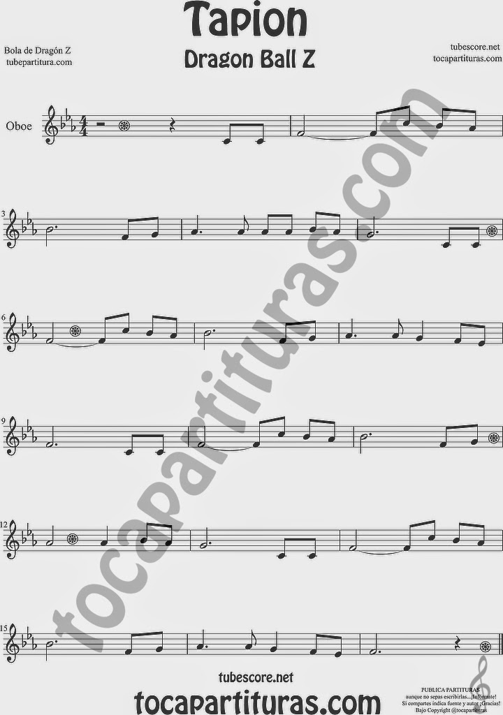 Tapión Bola de Dragón Z Partitura de Oboe Sheet Music for Oboe Music Score Dragon Ball Z Ost