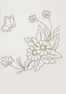 risco de ramo de flores com borboleta