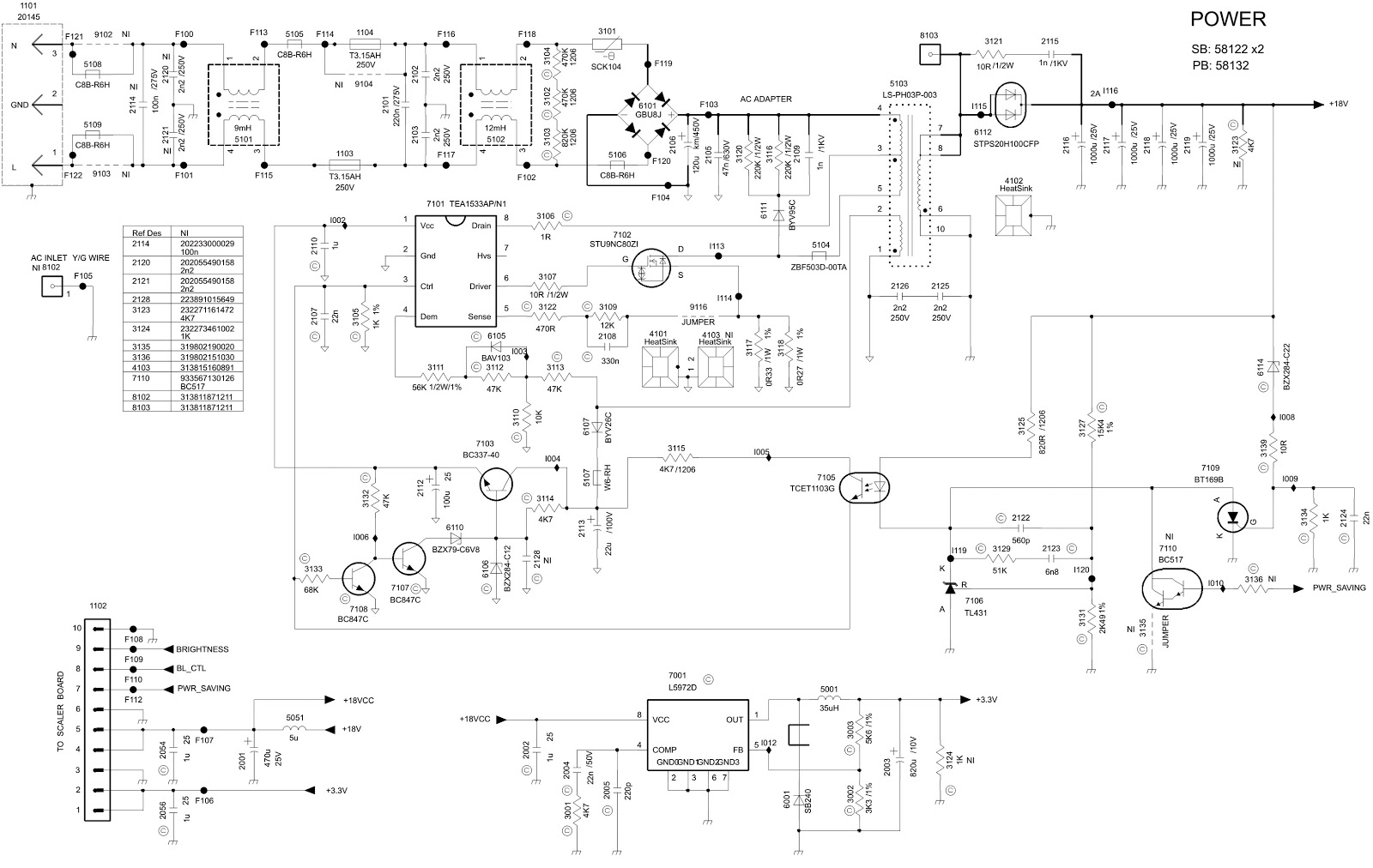 HP L2035 TFT LCD MONITOR - POWER and INVERTER CIRCUIT DIAGRAM ...