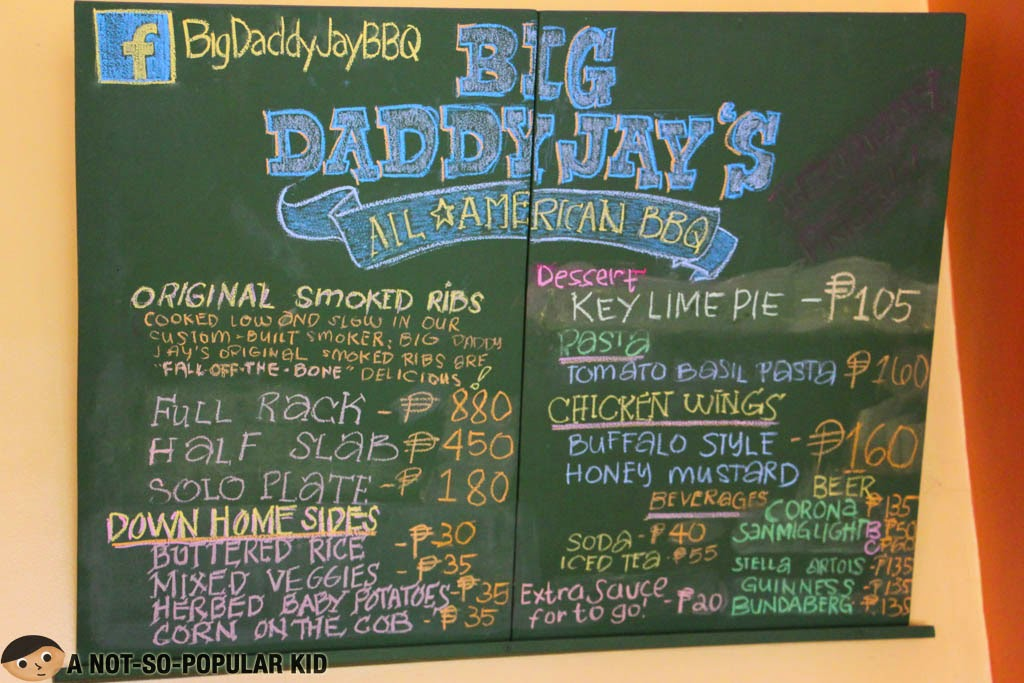 Menu and Prices - Big Daddy Jay's All American BBQ