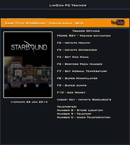 Starbound Furious Koala v.Upd.26-01-2014 Trainer +11 [LinGon]