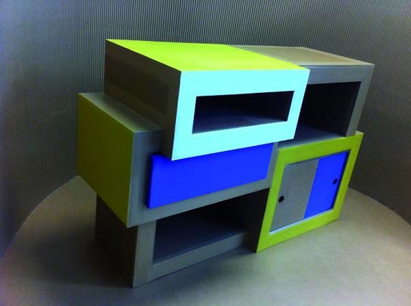 stage meuble en carton marseille atelier spritz. commode en carton sur mesure fabriquée à marseille par juliadesign.