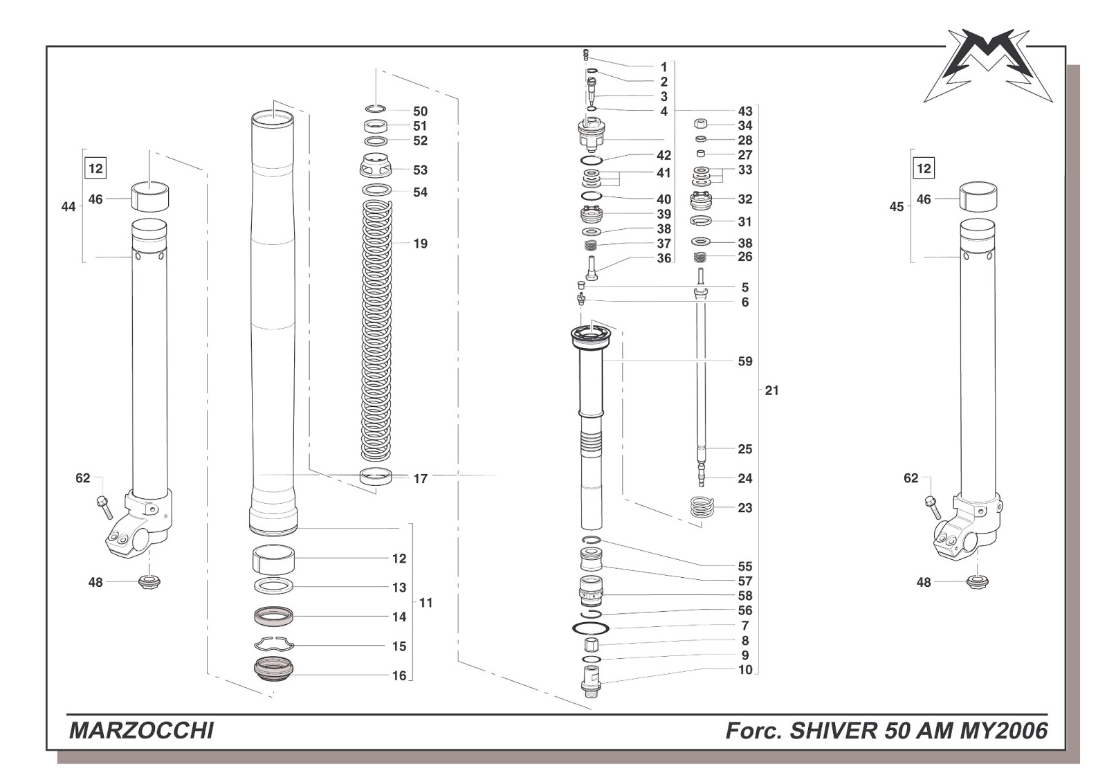 marzocchi moto spares  exploded diagrams  after market forks