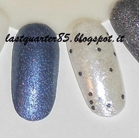 Essence nuovi prodotti primavera 2013: da sinistra swatch dello smalto effetto jeans 07 Blue-Jeaned e di quello effetto Polka Dots 13 Laser Show.