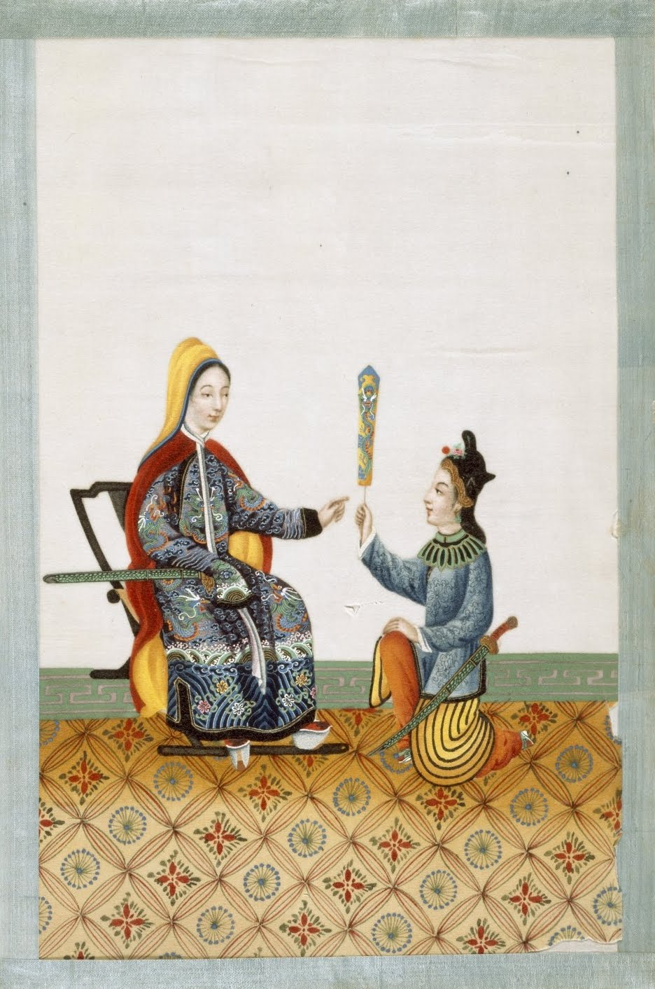 Chinese Court servant with noblewoman - 19th cent.