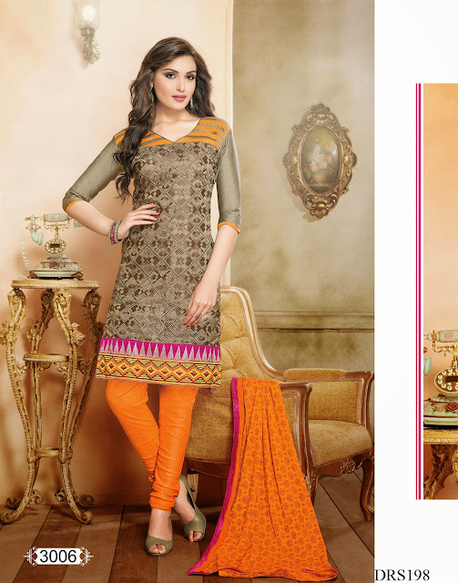 Latest Chanderi Cotton Embroidery Dress Material