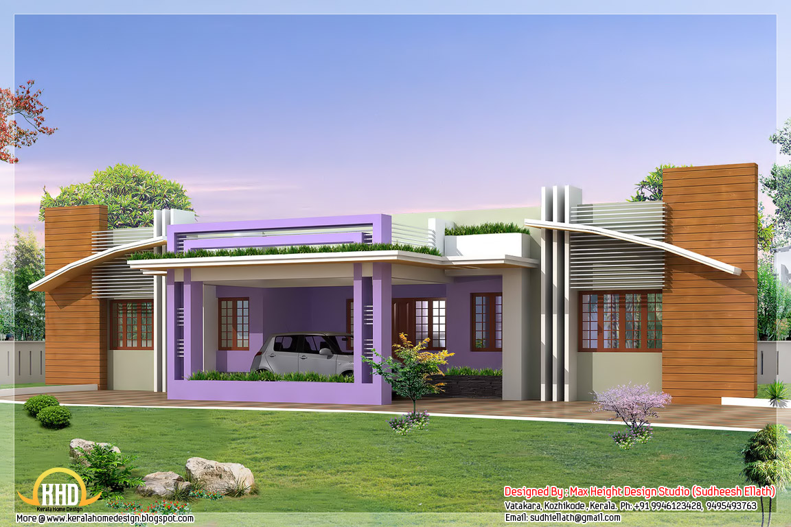 Four india style house designs kerala home design and Home plan for 1200 sq ft indian style