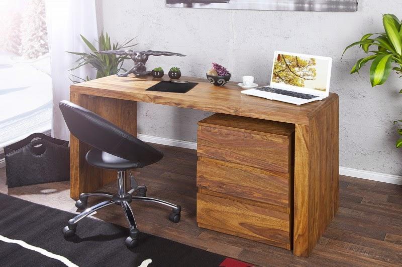 Dizajnovy pracovný stolik z dreva sheesham, masivny nabytok Makassar