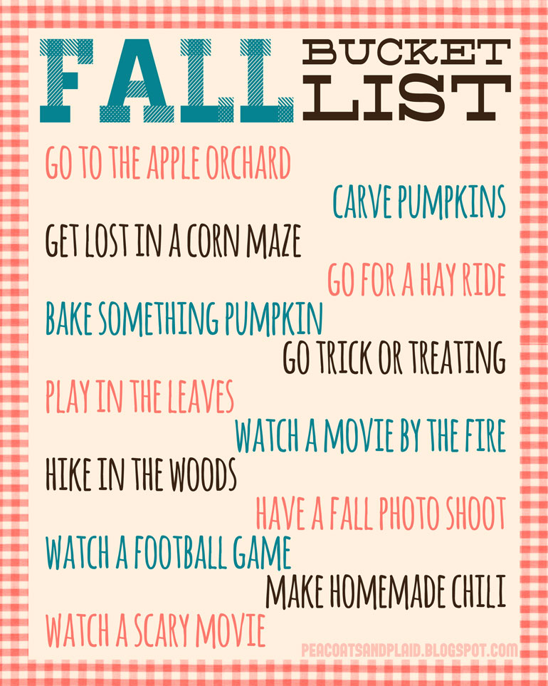 free autumn printable bucket list