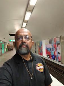 Selfie in the Stockholm Metro Station having World's longest art canvass.