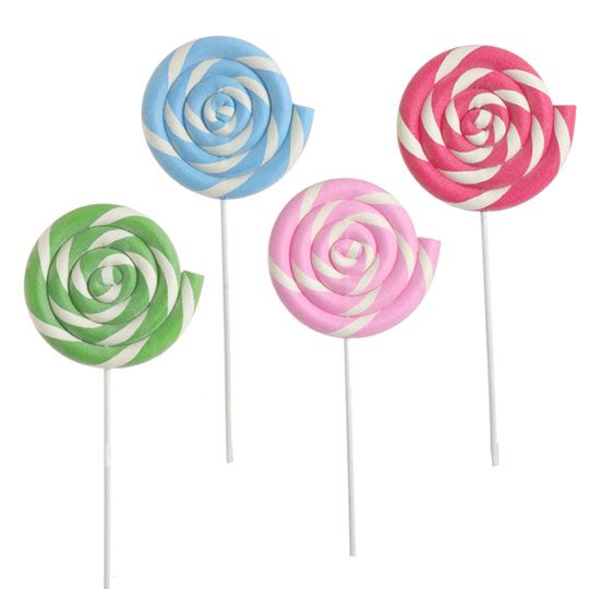 ... lollipops about 3 feet tall using pool noodles hot glued to dowels