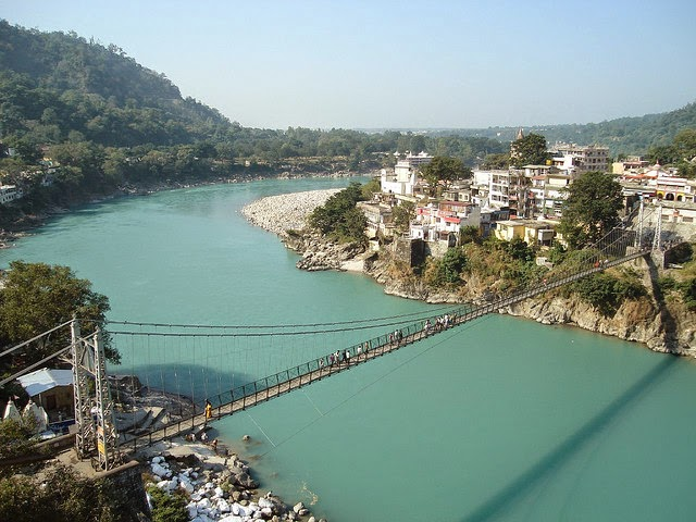 View of Lakshman Jhula in Rishikesh,Uttarakhand