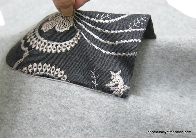 paso a paso aplicación bolsillo con costura oculta