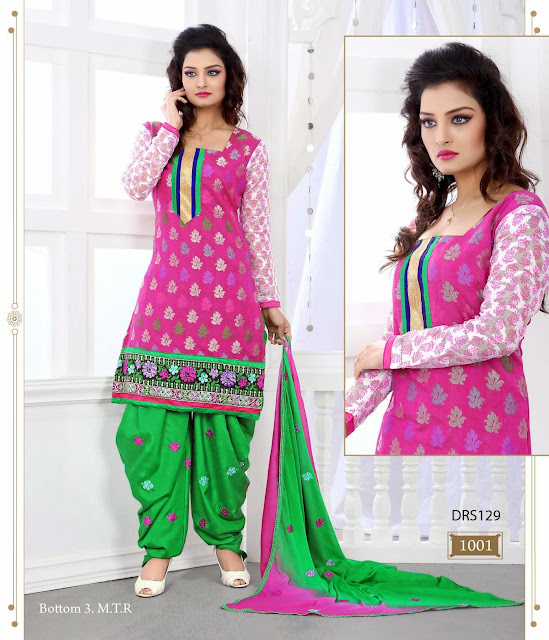 Latest Embroidered Patiyala Style Dress Material