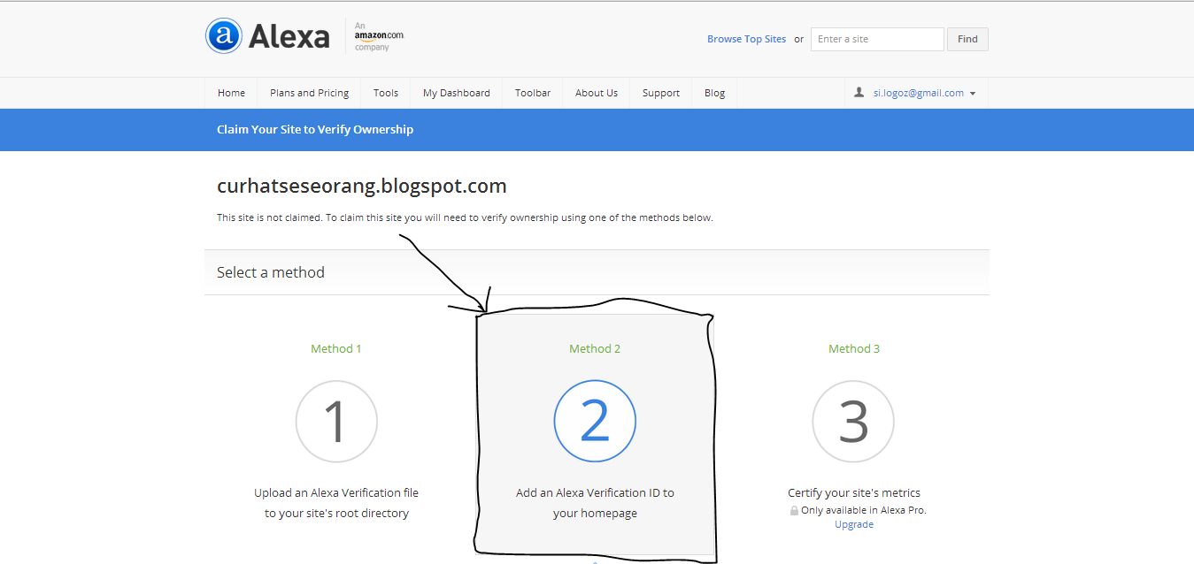 Cara Claim Your Site Blog di ALEXA RANK