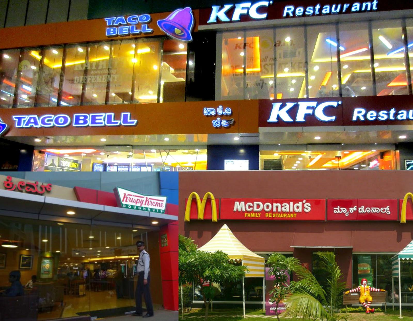KFC, Mc Donalds, KrispyKreme, TacoBell