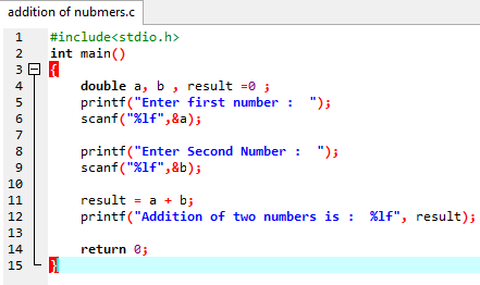 Information Program Code For Addition Of Two Numbers