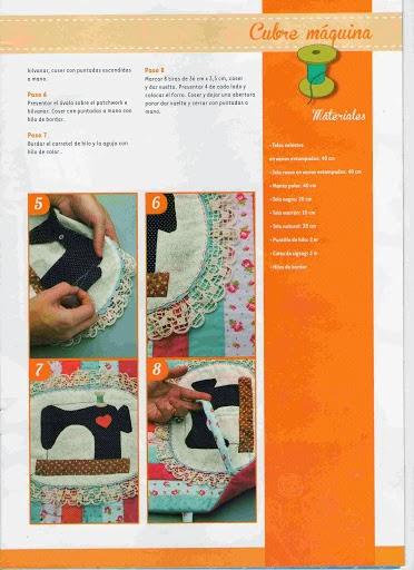 Capa para máquina de costura passo a passo com moldes