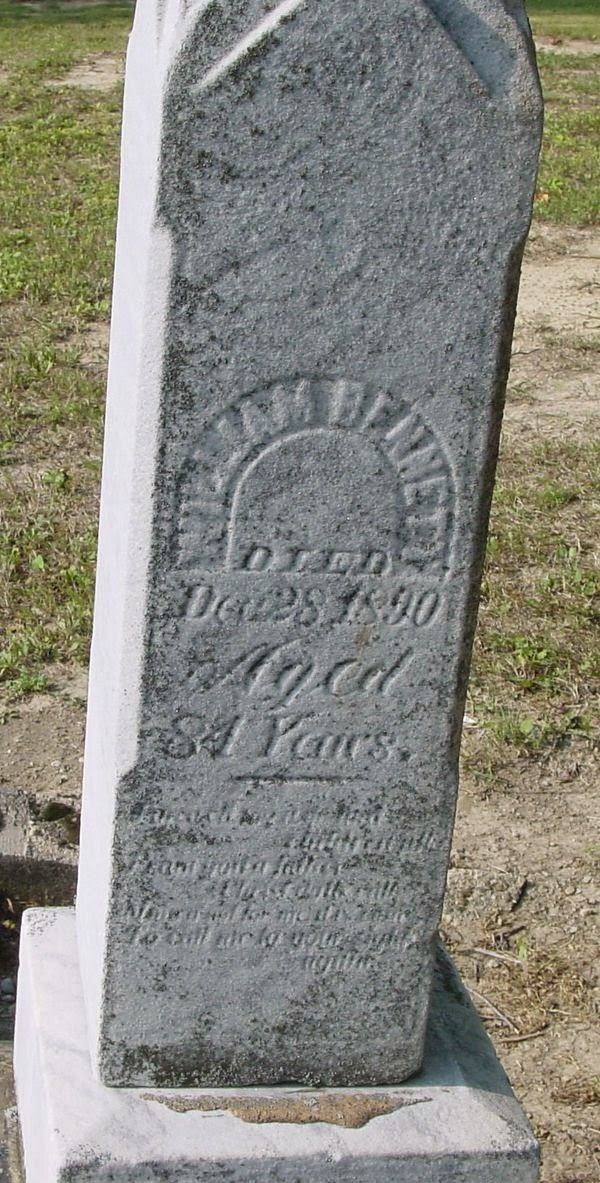 Climbing My Family Tree: Grave of William Bennett, Deanville Cemetery, taken by Jack Vander-Schrier