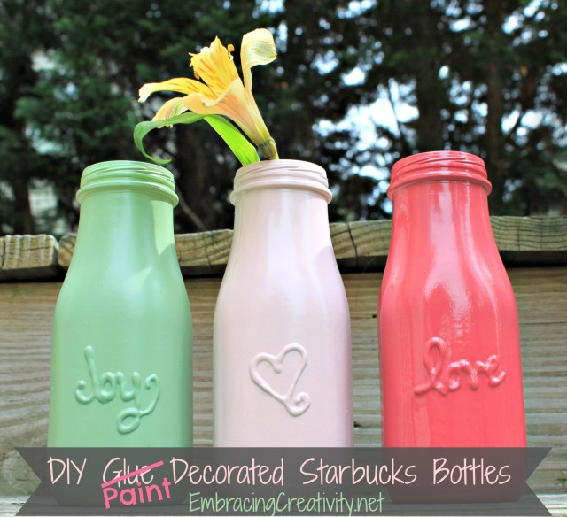 Puffy paint DIY message jars that resemble vintage mason jars... so pretty! By Embracing Creativity, featured on I Love That Junk