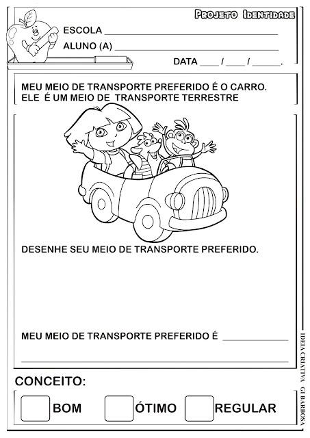 Atividade Sociedade Projeto Identidade Dora Aventureira