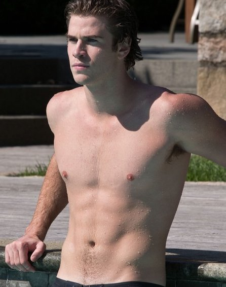 liam hemsworth sin camisa en piscina para paranoia. Black Bedroom Furniture Sets. Home Design Ideas