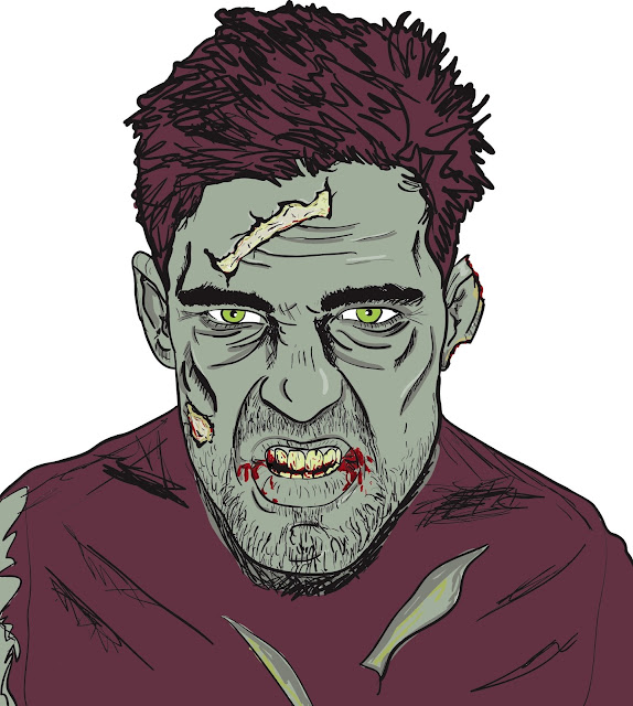 vector art zombie drawing created on illustrator
